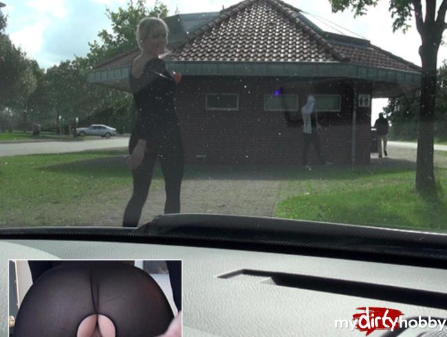 Schnellspritzer beim Rastplatzdate im NylonCatsuit!